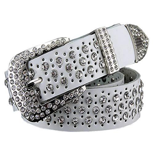 Mode Strass Echtes Leder Gürtel Für Frauen Luxus Breite Dornschließe Gürtel Frau Zweite Schicht Rindsleder Strap White 105cm