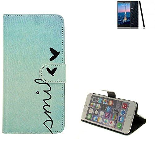 K-S-Trade® für ZTE Blade Vec 4G Wallet Case Schutz Hülle Flip Cover Tasche ''Smile'', türkis