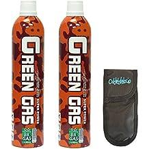 Pack 2 Botellas Green Gas 1100 ml para pistolas de airsoft que funcionan por gas + Funda Portabolas Outletdelocio. 2-18398/23054