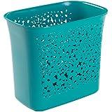 mDesign Cubo de basura perforado - Ideal como papelera de reciclaje o contenedor de basura - plástico resistente - para cocina, baño y oficina - Diseño moderno con capacidad de 5,6 l - acuamarina