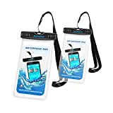 Waterproof Case [2Packs], Amteker IPX8 Watertight Sealed Underwater Dry Bag, Clear Sensitive PVC Touch Screen, Durable Waterproof Pouch Bag with Portable Lanyard for iPhone 7/6s, 7/6s plus, 5s, SE and Other Smartphone