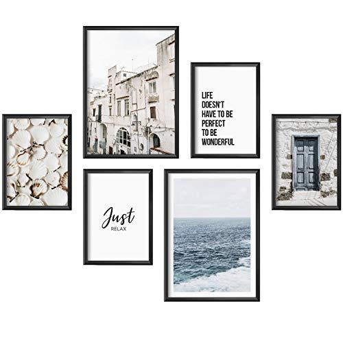Mia Félice Moderne Wand-Bilder für das Wohnzimmer, Schlaf-Zimmer, Flur Tumblr Wand-Deko modern - Wand-Dekoration Wohnung » Relax « Maritime Vintage Bilder Poster-Set Wand-Bild - ohne Bilderrahmen