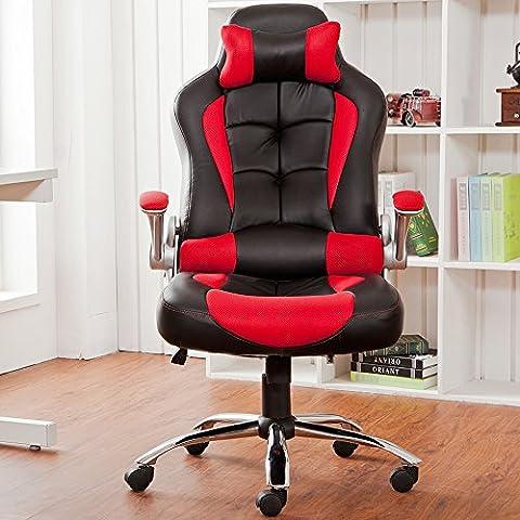 Chaise de bureau Chaise de direction, Chaise d'ordinateur avec haut dossier PU en simili cuir Red