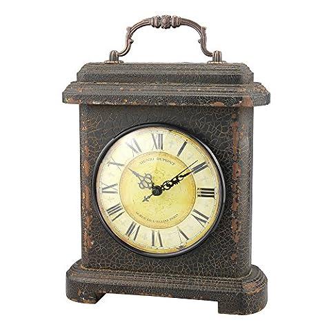 Stonebriar SB-6078A Industrial Graphite Wood & Metal Mantel Clock
