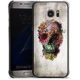 Samsung Galaxy S7 Edge Housse Étui Protection Coque Tête de mort Crâne Fleurs