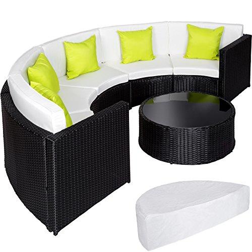 TecTake Ensemble Salon de Jardin demi cercle Poly Rotin Aluminium avec Table incl. Housse de Protection - diverses couleurs au choix - (Noir | No. 402034)