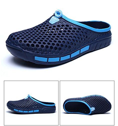 YOUJIA Unisex Sommer Casual Atmungsaktiv Clogs Strand Geschlossene Zehe Hausschuhe Pantoffeln Slippers #3 Blau