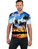 Goodstoworld 3D T Shirt Aloha Hawaii Palme Druck Herren Damen Printed Sommer Lustig Hippie Beiläufige Kurzarm T-Shirts Tshirt L