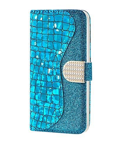Homikon PU Leder Hülle Cool Laser Schutzhülle Brieftasche Bling Glitzer Strass Handyhülle Kunstleder Silikon Wallet Tasche Ständer Book Case Flip Cover Kompatibel mit Samsung Galaxy A50 - Blau - Cool Glitzer