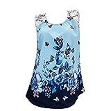 TUDUZ Damen Ärmellos Schmetterling und Blumen Drucken Oberteil Bluse Casual Tank Tops T-Shirt