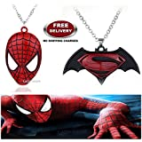 (2 Pcs COMBO SET) - SPIDERMAN MASK & DAWN OF JUSTICE SUPERMAN - BATMAN (BLACK / MAROON) IMPORTED PENDANTS WITH CHAIN. LADY HAWK DESIGNER SERIES 2018. ❤ ALSO CHECK FOR LATEST ARRIVALS - NOW ON SALE IN AMAZON - RINGS - KEYCHAINS - NECKLACE - BRAC