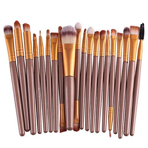 Seawood® 20 pcs Lot de pinceaux de maquillage Poudre Fond de Teint Fard à paupières Eyeliner Rouge à lèvres Pinceaux Cosmétique - Vert/café, Doré, Taille unique