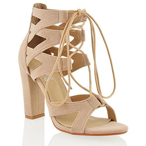 ESSEX GLAM Damen schnitten ferse mit schnur ab Hautfarbe Wildlederimitat sandalen EU 38