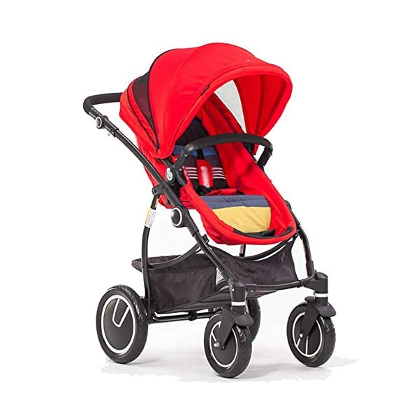 Comfortable Prams Baby Stroller High Landscape with Reversible Bassinet Compact Buggy Suitable for Children 0-3 Years Old, 90x115cm (Color : RED) CAR - Quick folding system. The folding stroller weighs about 11KG and is light! - Five-point seat belts protect your baby at all times, and parents don't have to worry about your baby slipping out of the stroller. Waterproof, fireproof, foldable to compact size, space saving, 360° rotating double front rubber wheel, sturdy rubber wheel, 5-point seat belt, safety bar, one-touch foot brake 1