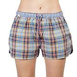 Luca David Olden Glory Damen Pyjama-Shorts mit Karo-Muster Blau/Gelb (2400-17107) Größe 38