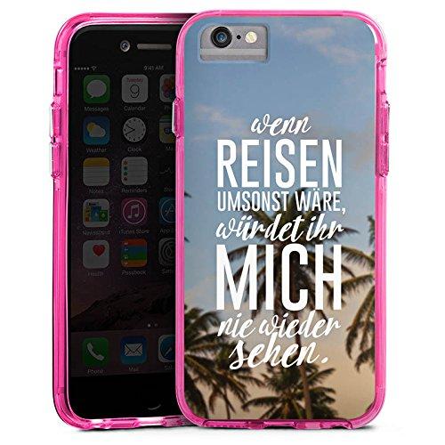 Apple iPhone X Bumper Hülle Bumper Case Glitzer Hülle Reise Palmen Urlaub Bumper Case transparent pink