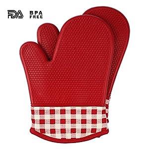 Jonhen Silicone Guanti - Resistente al Calore Guanti da Forno con Cotone Fodera - Silicone Presine per la Cucina,Cottura,Barbecue,Griglia (rosso)