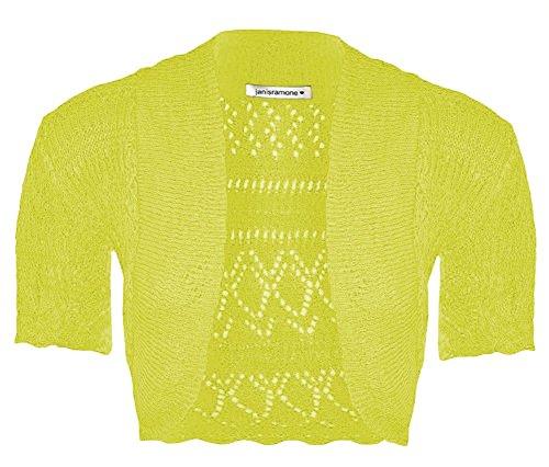 Janisramone nuove Ragazze crochet a maglia corta manica Bolero Shrug Crop Cardigan Cima Lime