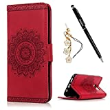 S7 Edge Case,Samsung Galaxy S7 Edge Case – Badalink 3D Embossed Flower Wallet Magnetic Flip Cover PU Leather Kickstand Card Holders Soft TPU Inner Case Hand Strap & Dust Plug & Stylus – Red