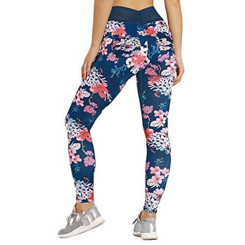 XZDCDJ Lange Yogahose Damen High Waist Skinny Hose Damen Fitness Yoga Lauftraining Enge, elastisch Bedruckte Yogahose(Blau,M) Pro 96-scanner