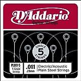 D'Addario Plain Steel Elektro/Akustikgitarren Saiten 5er-Pack
