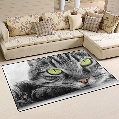 naanle Green Eyed Cat rutschfeste Bereich Teppich für Dinning Wohnzimmer Schlafzimmer Küche, 50x 80cm (7x 2,6m) mit Katze Kinderzimmer-Teppich Boden Teppich Yoga-Matte, multi, 50 x 80 cm(1.7' x 2.6') (Eyed Katze Green)