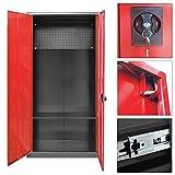 Melko® Werkzeugschrank Metallschrank aus Stahlblech, abschließbar, 180 x 90 x 39 cm, Schwarz/Rot, inkl. Lochwand (ohne Fächer)