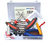 #1: amiciKart Complete Tubeless Tyre Puncture Repair Kit with Box (Nose Pliers + Cutter + Rubber Cement + Extra Strips)