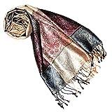 Lorenzo Cana Luxus Pashmina Schal Schaltuch jacquard gewebt 100% Seide Paisley Muster Seidenschal Seidentuch Seidenpashmina mehrfarbig 7807977