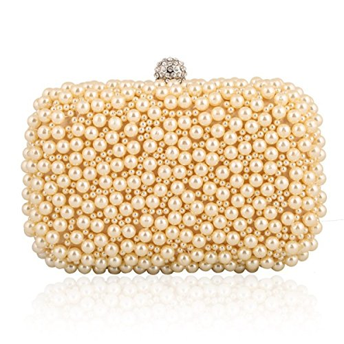 Dame Exquisite Perle Fashion Party Party Party Tasche Beige