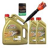 2x 1 L + 5 L = 7 Liter Castrol Edge Fluid Titanium 5W-30 LL Motoröl inkl. Castrol Ölwechselanhänger und Einfülltrichter