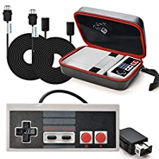 SNES Classic Mini Case WADEO NES Classic Controller For Nintendo With Mini Edition Carring Bag, 2*9.84Ft Controller Extension Cables, Controller Gamepad,Deluxe Travel Carrying Case