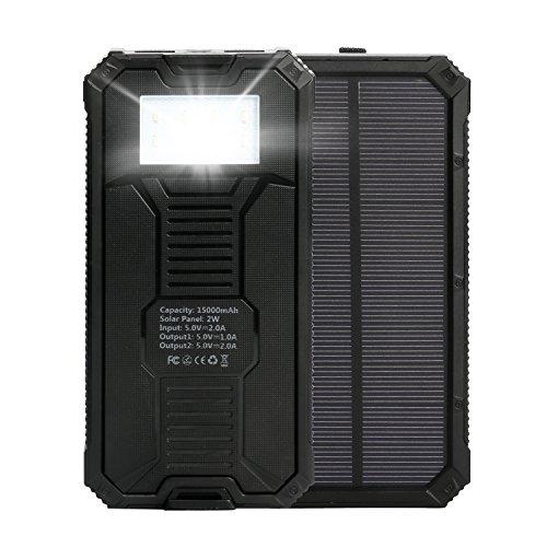 Cargador solar,Upow 15000mAh batería externa portátil solar con 2 usb y LED
