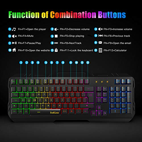 Zoom IMG-2 tastiera gaming tedgem pc usb