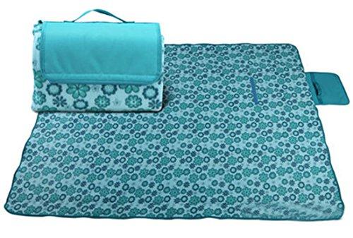 Honeystore 180*140 Flanell Wasserdichte Yoga Matte Strand Ausflug Picknickdecke Mit Tragegriff Blau