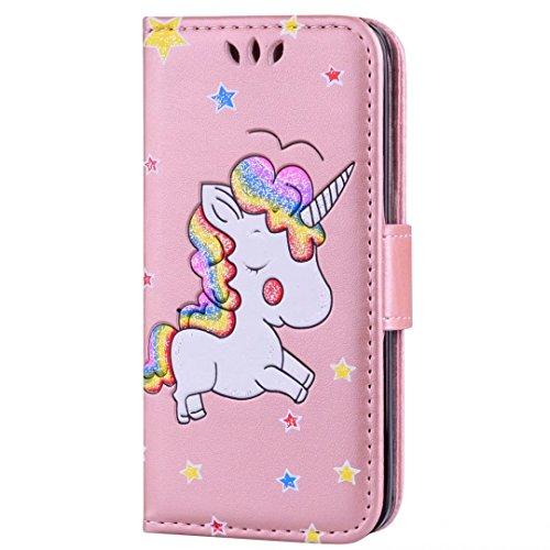 Cover iPhone 6/6s Plus DECHYI unicorno Custodia Matte Scintillante modello di Star Glitter Custodia.-Rosa rossa-02 Oro rosa-01