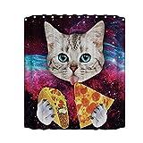 Prosperveil 3D HD Print Wasserdicht Mehltau Proof Duschvorhang für WC (Katze essen Pizza