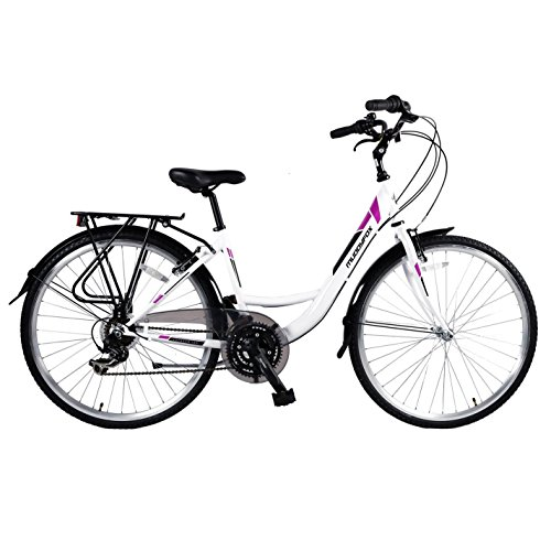 Muddyfox Womens Voyager 100 Bicycle Cycle Bike Velocipede 18 Speed Gears White 700Wh/17Fr