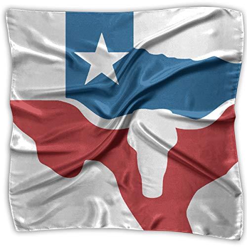 TGSCBN Texas Longhorn Flag Dyed Square Scarf Damen Halstuch Headwear Seidenschals 100CM Large -