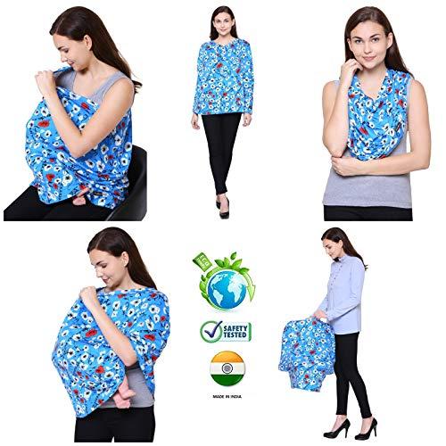 Feather Hug 360° Nursing Cover for Breastfeeding mother, women, Mom, Multi Use, Feeding Cloak,Poncho, scarf, ups, Wrap, Breathable, Canopy, Babysitting, Maternity, Kurti, Shawl, Apron, Poplin ( Sea Floral)