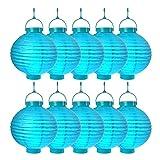 Schramm Onlinehandel S/O® 10er Pack LED Lampions Blau Laterne Lampion Garten Balkon Terrasse Party Beleuchtung Dekoration