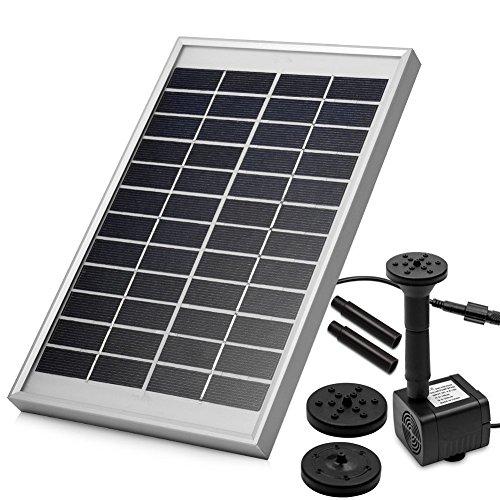 LUXJET® 5W Solar Bombas para Fuentes,Bomba de Agua Solar, para el jardín, el Patio, Estanque, etc. Flujo máximo 380L / h