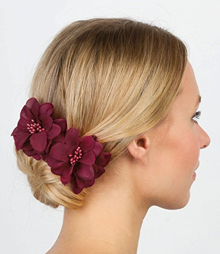"SIX ""Flower"" women hair accessories, two dark red flowers in a zigzagged beak clip, duck clip hair slides, brooch (329-705)"