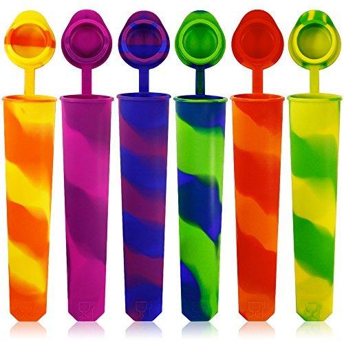 Silikon Ice Pop Formen Set von 6, Maxin Schimmel farbigen Rainbow Swirl Ice Popsicle Form Maker mit Deckel befestigt. (Asorted Farbe) (Ice Maker Schimmel)