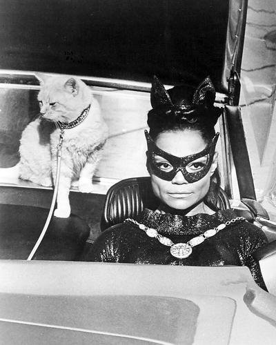 Katze Auto Kostüm - EARTHA KITT Batman fahren Auto mit Katze hinter in Kostüm Maske 10x 8Werbe Foto