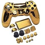 JDM-040 Gehäuse für PS4 Playstation 4 Slim Controller (Joystick + L1 R1 L2 R2 Tasten) verchromt Chromfarben/Gold