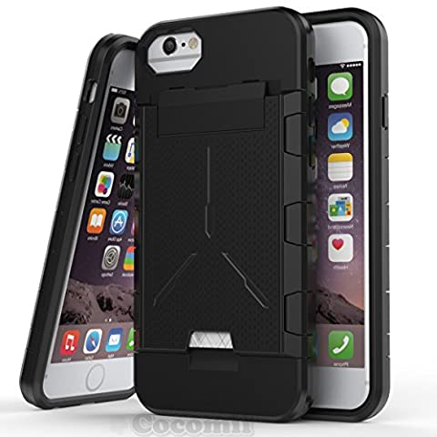 iPhone 8 / 7 / 6S / 6 Coque, Cocomii Viking Armor NEW [Heavy Duty] Premium Built-in Multi Card Holder Shockproof Hard Bumper Shell [Military Defender] Full Body Dual Layer Rugged Cover Case Étui Housse Apple (Black)