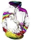 Goodstoworld Coole Regenbogen 3D Pullover Männer Damen Bunt Rainbow Unicorn Druck Langarm Hoodie Pullover Sweatshirt Jersey