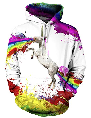 Goodstoworld Herren Damen 3D Unicorn Pullover Kapuzenpulli Coole Grafik Slim Fit Kapuzenpullover Hoodie Sweatshirt Kapuze Fleece Top -