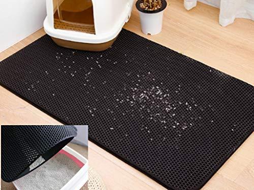 Authda Alfombrilla de arena para gatos doble capa fácil limpieza impermeable suave EVA no tóxica fácil de limpiar bandeja de arena para gatos bordes de tela almohadilla de alimentación para gatos